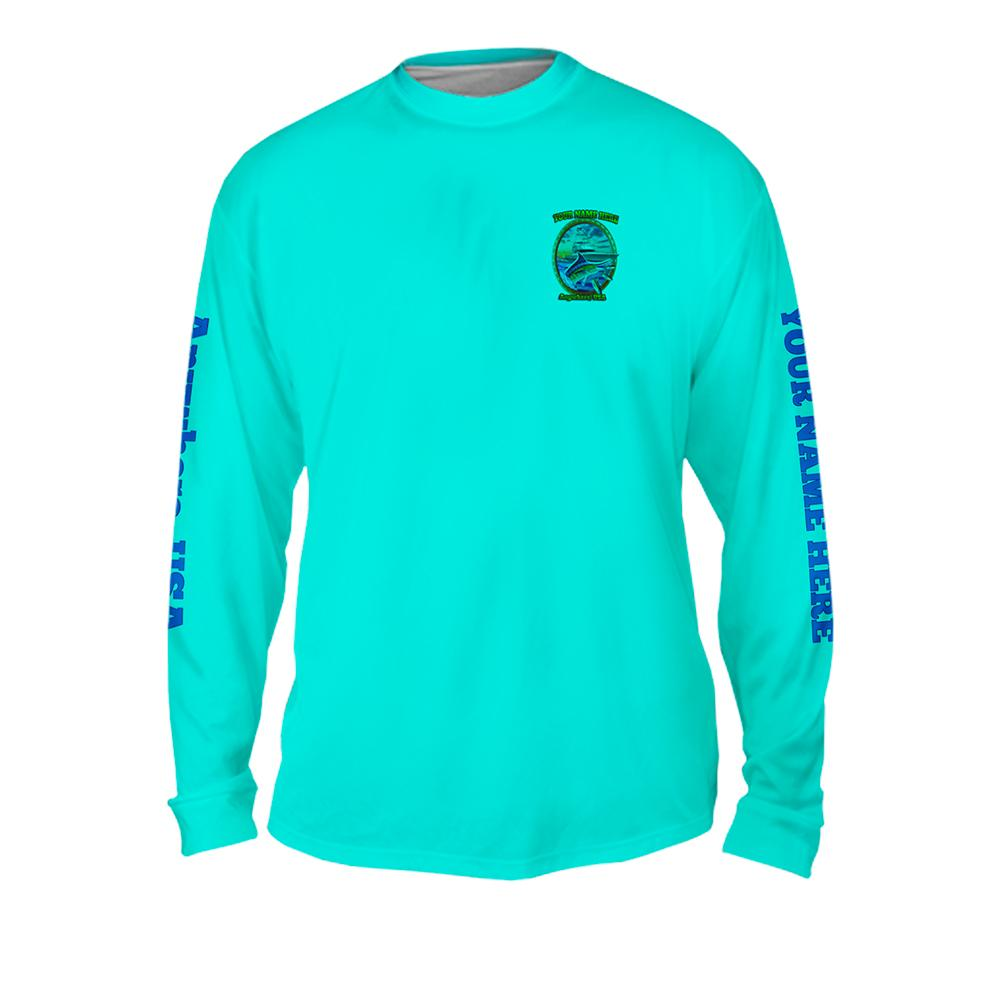 Marlin On The Hunt - Free Stock Art - Mens Performance Long Sleeve Spot Print