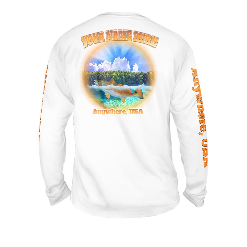 Redfish Glow - Free Stock Art - Mens Performance Long Sleeve Spot Print