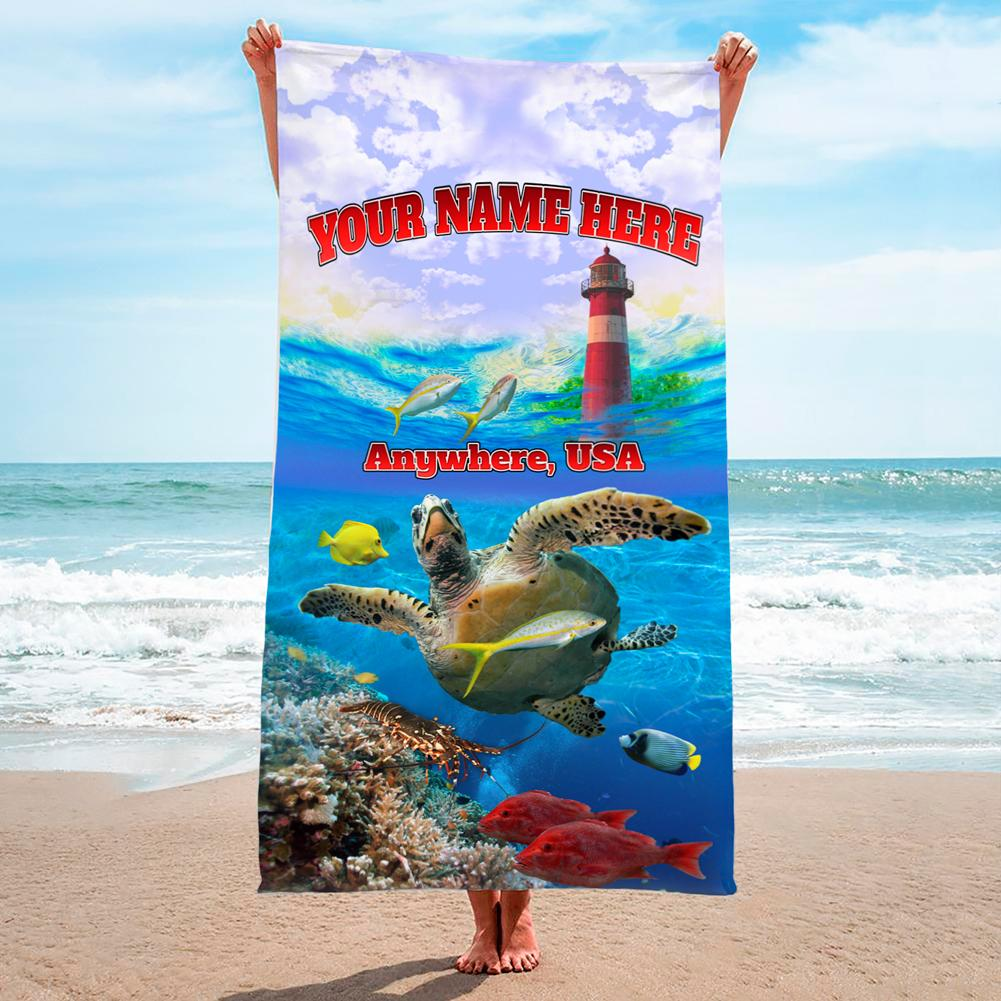 Lighthouse Turtle Sunset - Premium & Standard Towel