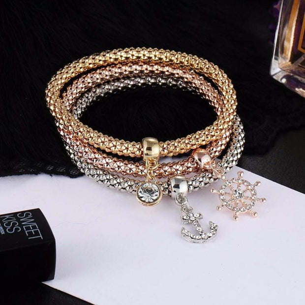 3 Pcs/Set Crystal Charm Bracelet