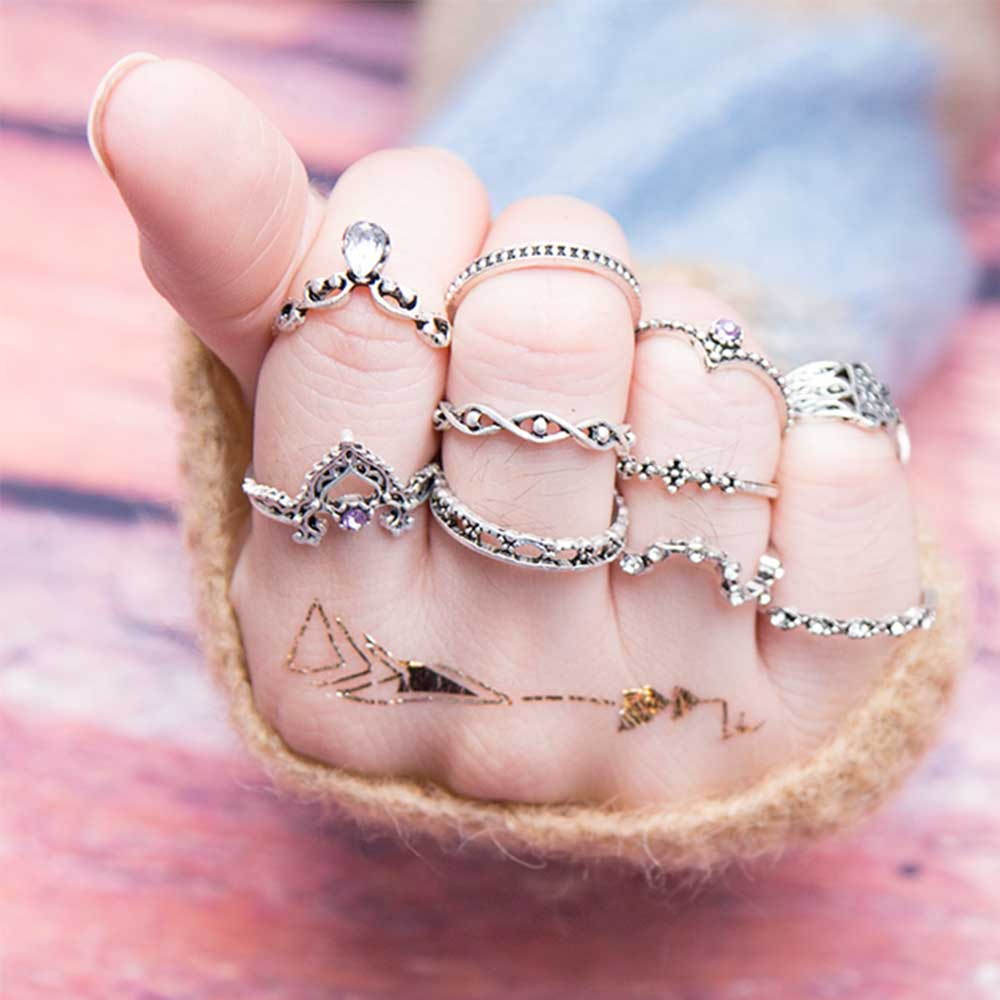 10Pcs/Set Fatima Hand Ring