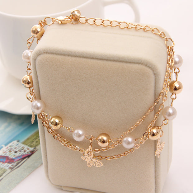 Multilayer Beaded Pendant Bracelet