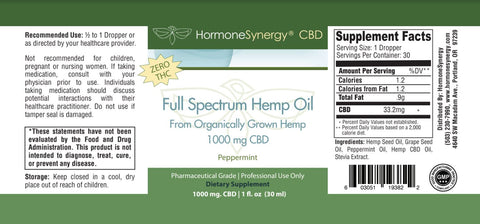 1000 mg. Phytocannabinoid-Rich CBD Hemp Oil Liquid -  (33.2 mg. CBD Per Serving) - Peppermint Flavor - FREE US SHIPPING! ***Please call 503-230-7990 to order by phone***
