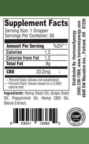 1000 mg. Phytocannabinoid-Rich CBD Hemp Oil Liquid -  (33.2 mg. CBD Per Serving) - Peppermint Flavor - FREE US SHIPPING!