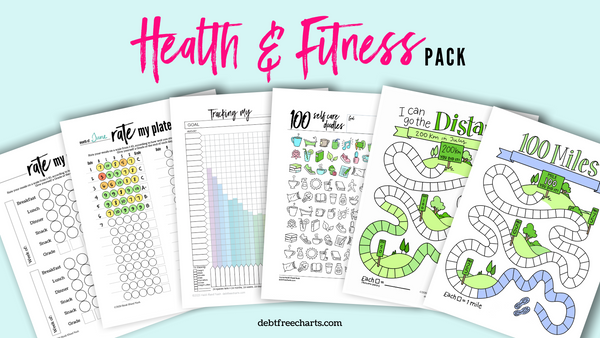 Health and fitness tracking goals games printable download charts