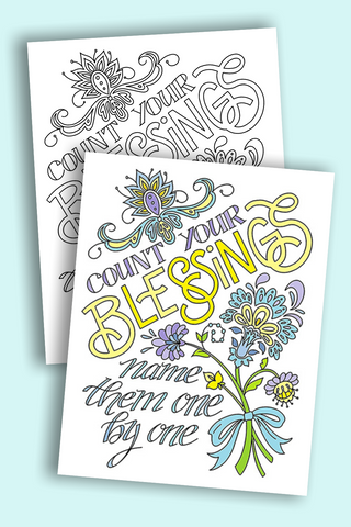 Count your Blessings hymn quote printable coloring page