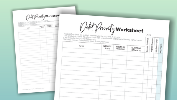 Debt Free Charts Big Finance Pack Debt Priority Worksheet Budget Printable Planner Binder