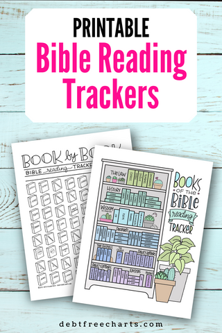 Printable Bible reading trackers download chart progress bookshelf