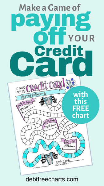Make a game of paying off your credit card with this free chart, Free credit card payoff printable, paying off debt, paying off credit cards, free game chart, credit card worksheet
