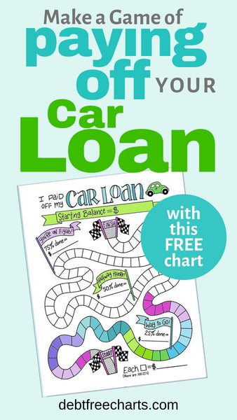 Make a game of paying off your car loan with this free chart, Free car loan payoff printable, paying off debt, free game chart, car loan worksheet