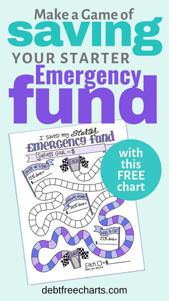 Make a game of saving your starter emergency fund with this free chart, Free emergency fund printable, saving money, baby emergency fund, free game chart, emergency fund worksheet