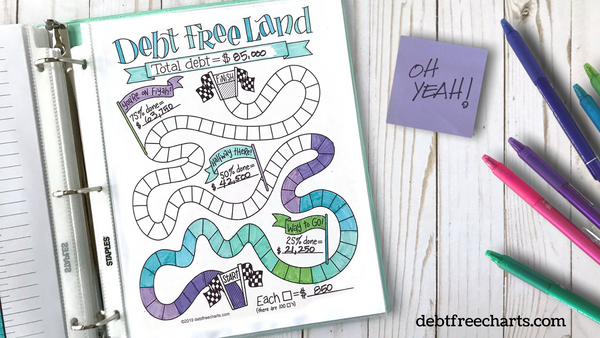 debt free land game chart printable payoff tracker download