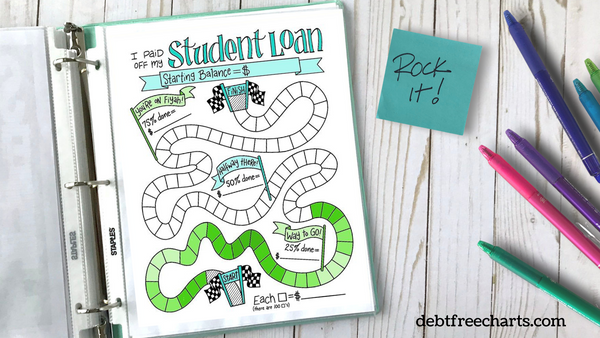 student loan debt payoff game tracker chart printable download