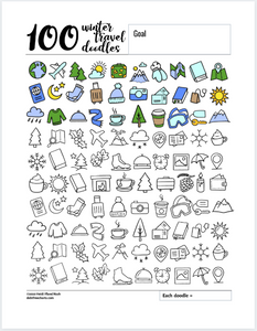 100 Travel Winter Doodles