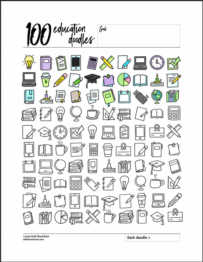 100 Education Doodles