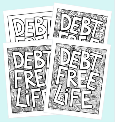 Debt Free Life Coloring Page Pack