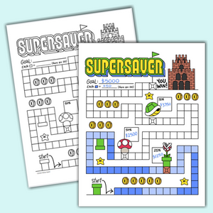super saver mario style vintage video game nostalgia tracking progress printable chart
