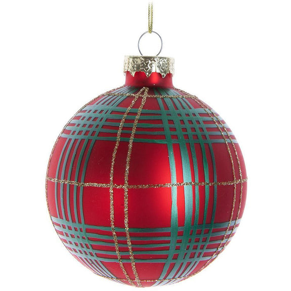 "Red and Green Tartan Ball Ornament 4.5"" diameter"