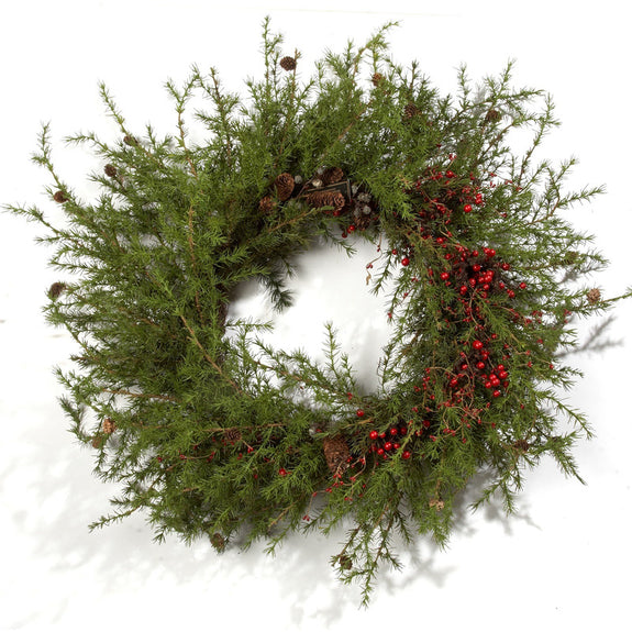 "55"" Artificial Pine Wreath with Berries"
