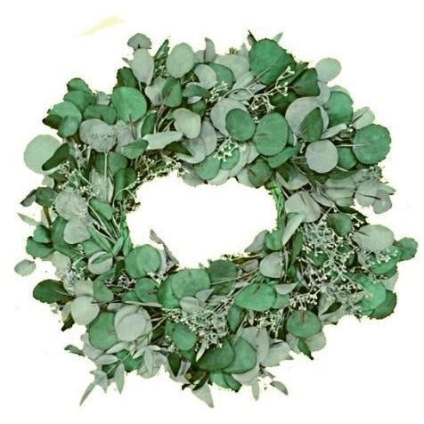 "24"" Green Artificial Eucalyptus Wreath with Berries"