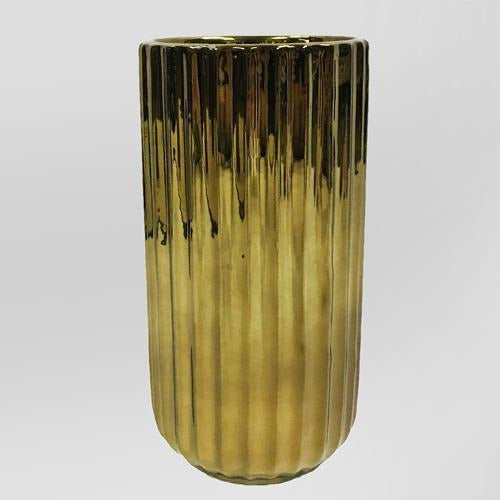 Metallic Gold Corrugated Vase