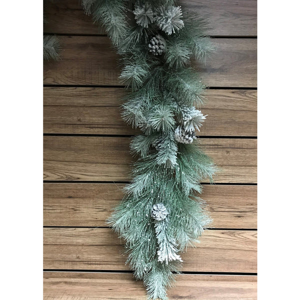 6 FOOT SNOWY GLITTERED MIXED PINE GARLAND