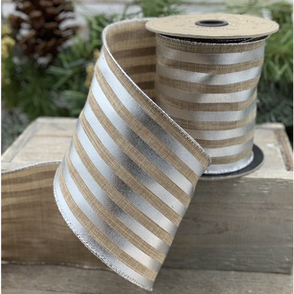 10 yard natural and silver stripe linen