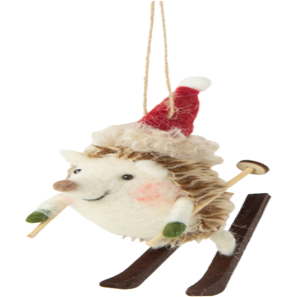FELT SKIING HEDGEHOG WITH RED HAT ORNAMENT, 3.5 IN