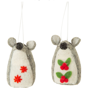 FELT HOLLY CHRISTMAS MOUSE KING ORNAMENTS HOLLY, 3 IN