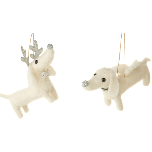 FELT WIENER DOG ANGEL ORNAMENTS