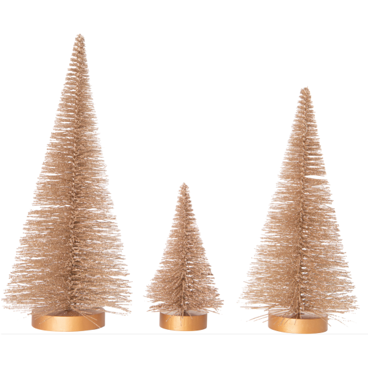 GLITTER BRISTLE TREES ON WOOD BASE, CHAMPAGNE GOLD