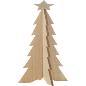 3D WOOD TABLE TOP TREE, FOLDS FLAT, CHAMPAGNE GOLD GLITTER STAR, 13 IN