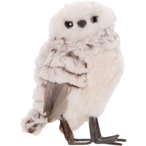 PLUSH OWL TABLE PIECE, GREY WITH FEATHER TRIM 6.5 IN