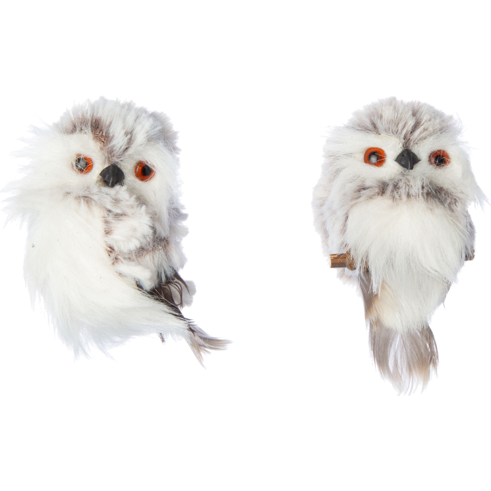 PLUSH OWL ORNAMENTS, WHITE WITH FEATHER TRIM 3.75 IN