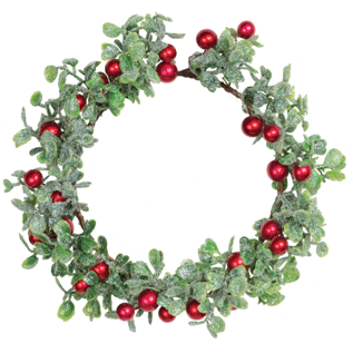 FAUX GLITTERED BOXWOOD CANDLE RING W/ RED BERRIES 4.5 IN