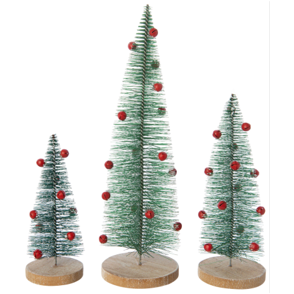 GREEN BRISTLE TREES WITH RED METAL JINGLE BELLS
