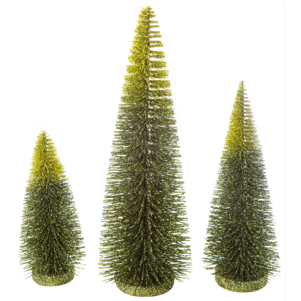 GLITTERED BRISTLE TABLE TOP TREE, VARIEGATED DARK GREEN, GREEN AND CHARTREUSE