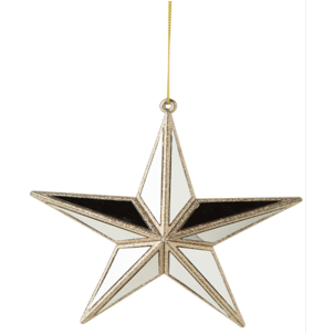 MIRROR STAR ORNAMENT, CHAMPAGNE GOLD PLASTIC FRAME 6 IN