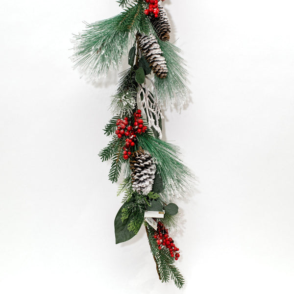 Frosted Pine Garland with Berries and Pine Cones