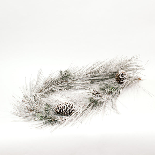 Frosted Pine Garland with Pine Cones