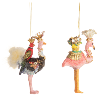 RESIN FANTASY OSTRICH ORNAMENTS, 4 IN