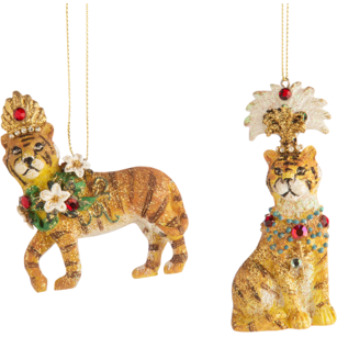 RESIN FANTASY ANIMAL ORNAMENTS, SITTING TIGERS 3.5IN
