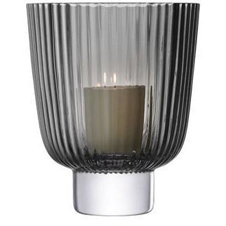 Grey Pleat Storm Lantern 21.5cm