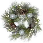 "24"" WREATH WITH SILVER BALLS PINE AND CONES"