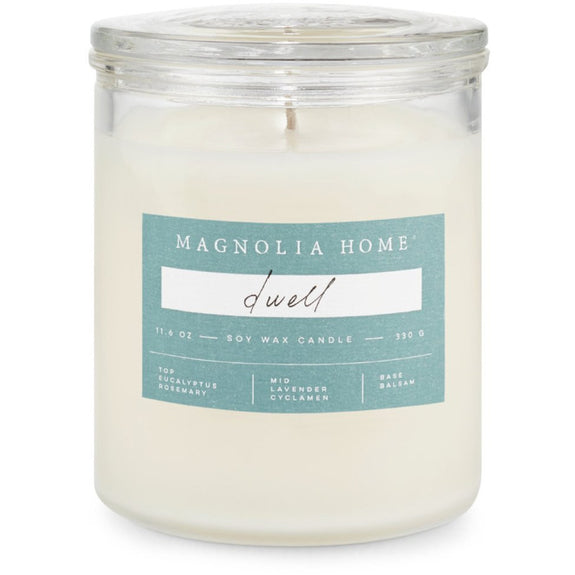 A simple glass jar candle with traditional glass lid. Elegant and chic enough to coordinate with many decorating spaces. Fresh eucalyptus sparks an energy flow while iced pepper, frosted lavender, and patchouli provide needed focus. Candle burns for approximately 55 hours.