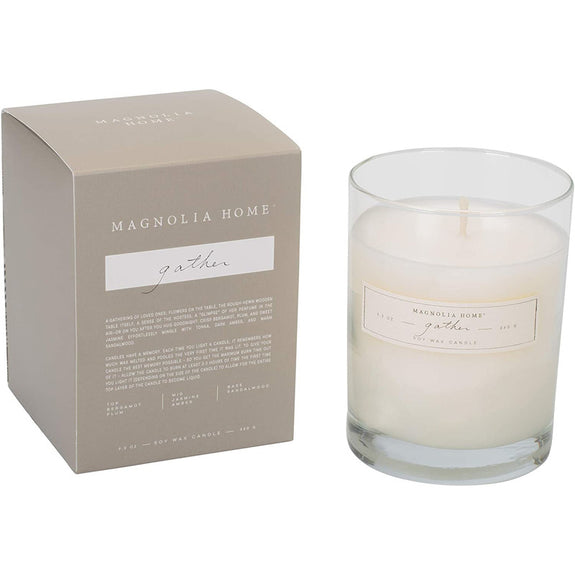 Crisp bergamot, plum, and sweet jasmine effortlessly mingle with tonka, dark amber, and warm sandalwood. A pretty colored box slides out of a matching paper sleeve that reveals a complementary hidden pattern and a simple glass candle.  Measures approximately 3.5 x 4.5 inches. Candle scent burns for approximately 55 hours.