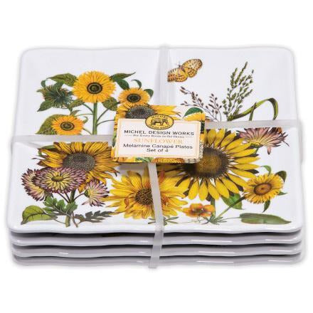 SUNFLOWER  CANAPE PLATE SET OF 4