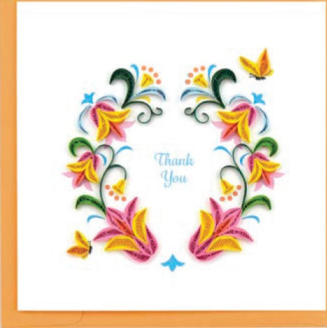 Thank You Flower Wreath Quilling Card