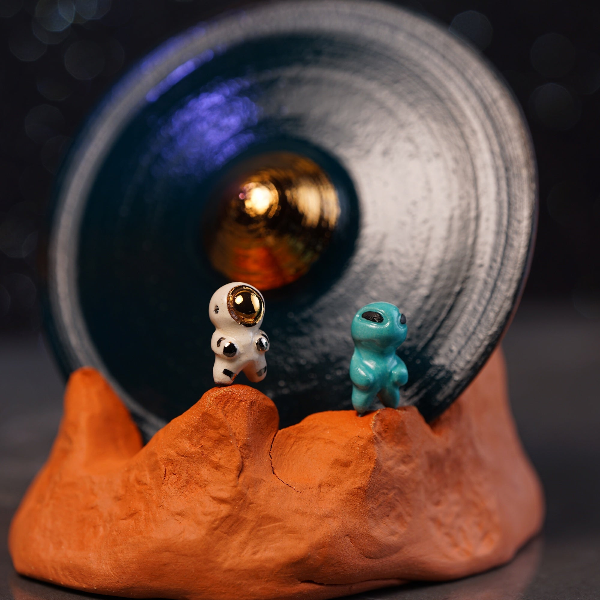 UFO Crash with Astronaut and Alien Incense Burner