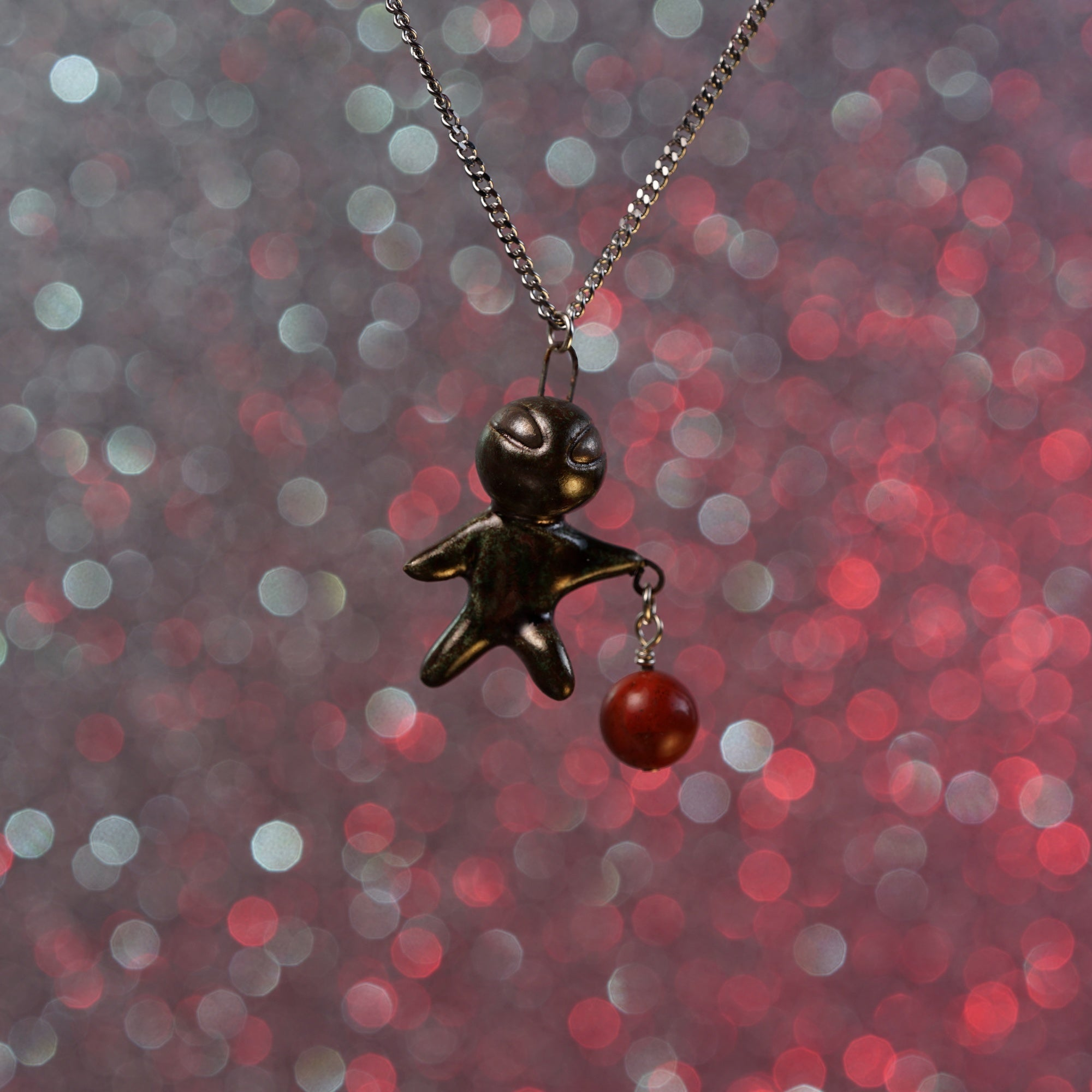 Floating Charm Alien Necklace